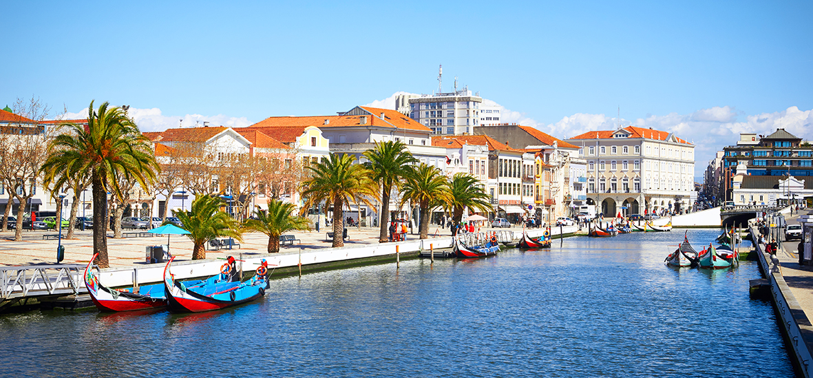 Traditional boats on the canal in Aveiro,